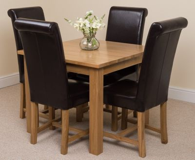 Oslo Solid Oak 90 cm Dining Table with 4 Brown Washington Leather Chairs