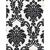 Romeo Damask Wallpaper - Black - Arthouse 673500