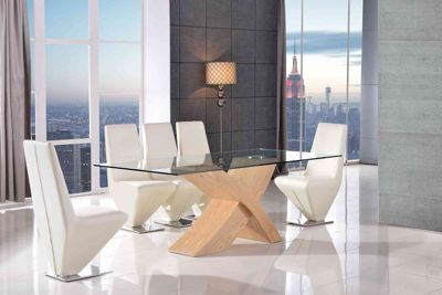 Valencia Glass & Oak 200 cm Dining Table with 6 Ivory Rita Chairs