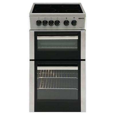Beko Twin Cavity Single Electric Oven and Grill, 50cm Wide, BDC5422AS - Silver
