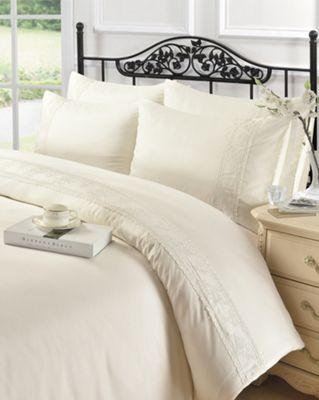 Embellished duvet cover and pillowcase set - cream - king
