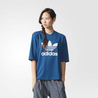 adidas Originals Womens 3/4 Sleeved Large Trefoil Print T-Shirt - 6