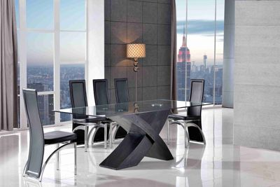 Valencia Glass & Black Oak 200 cm Dining Table & 6 Alisa Black Chairs
