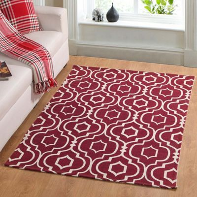 Homescapes Riga Handwoven Red and White 100% Cotton Printed Patterned Rug, 90 x 150 cm
