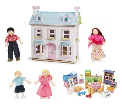 Le Toy Van Mayberry Manor with Starter Furniture Set and My Family of 4 Dolls