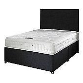 Happy Beds Signature Platinum 2000 Mattress Divan Bed Set Plain Headboard Black