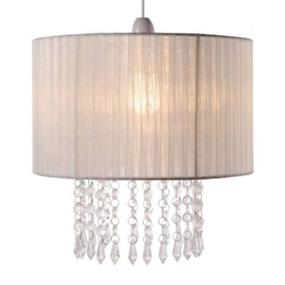 Oba Cream Ceiling Light Shade & Acrylic Crystal Droplets