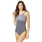 F&F Luxury Geo Print High Neck Swimsuit - Navy & White