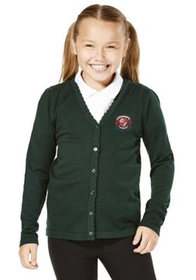 Girls Embroidered School Cotton Cardigan with As New Technology 7-8 years Bottle green
