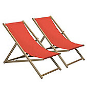 Harbour Housewares Traditional Adjustable Wooden Beach Garden Deck Chair - Red - Pack of 2