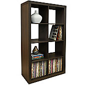 Cube - 8 Cubby Square Display Shelves / Vinyl Lp Record Storage Tower - Walnut