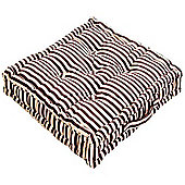 Homescapes Cotton Chocolate Brown and Beige Thin Stripe Floor Cushion, 50 x 50 cm