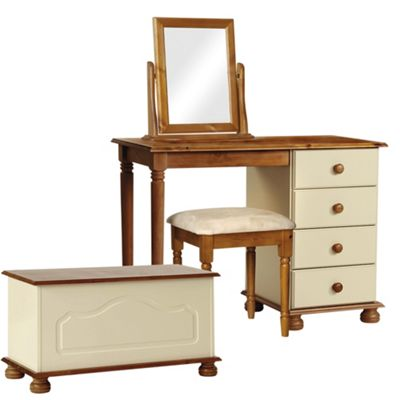 Nordic Cream and Pine Dressing Table, Stool, Mirror, Ottoman Package