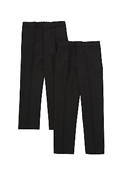 F&F 2 Pack of Flat Front Reinforced Knee Regular Fit School Trousers - Black