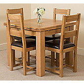 Richmond Solid Oak Extending 90 - 150 cm Dining Table with 4 Lincoln Dining Chairs