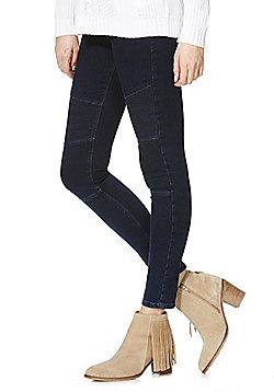 F&F Biker Seam Mid Rise Skinny Leg Jeans - Dark wash