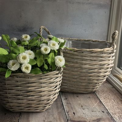 Set of Two Grey Basket Planters