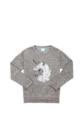 F&F Sequin Unicorn Knitted Top Grey 10-11 years