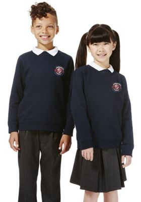 Unisex Embroidered School Sweatshirt with As New Technology 13-14 years Navy blue