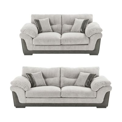 kendal 3 seater 25 seater jumbo cord sofa set light grey