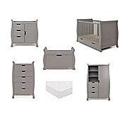 Obaby Stamford 6 Piece Nursery Room Set (Sprung Mattress) - Taupe Grey