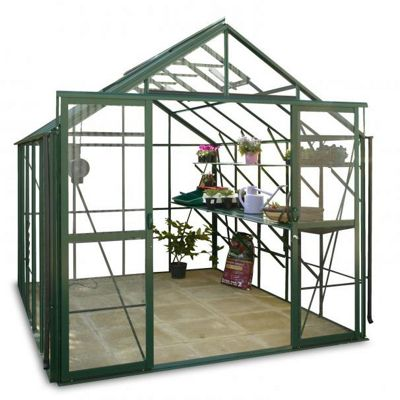 Hercules Blenheim Greenhouse 8ft5 wide 10ft7 long Green Toughened Glass