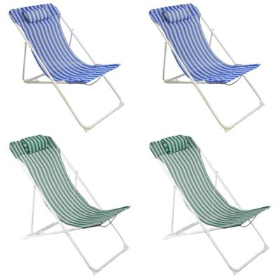 Harbour Housewares Adjustable Metal Garden Deck Chair - Blue / Green Stripe x4