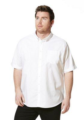 Jacamo Longer Length Short Sleeve Oxford Shirt XXXXL White