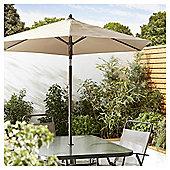 Tesco Tilting Garden Parasol in Mesh Bag, Cream, 1.8m