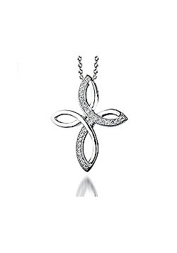 The REAL Effect Rhodium Coated Sterling Silver Cubic Zirconia Curved crossover Cross Pendant
