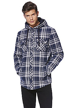 F&F Checked Thermal Fleece Lined Hoodie - Navy