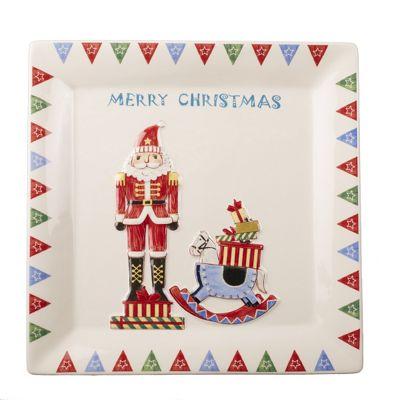 Nutcracker Sqaure Christmas Plate