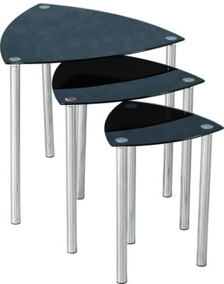 Home Essence Dayton 3 Piece Nests of Table Set in Black Glass and Chrome