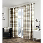 Fusion Balmoral Check Natural Lined Curtains - 46x54 Inches
