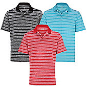 Woodworm Golf Clothes Heather Stripe Mens Polo Shirts 3 Pack - Multi