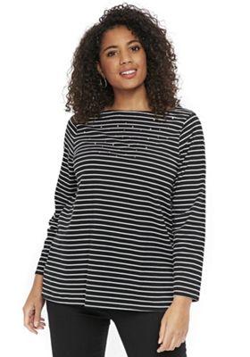Evans Striped Diamante Detail Plus Size T-Shirt Black 30-32