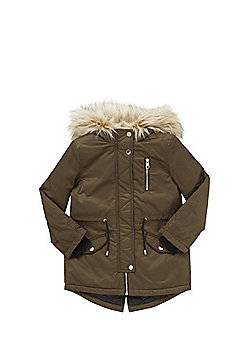 F&F Faux Fur Trim Hooded Parka - Khaki
