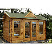 4.0m x 3.0m Log Cabin With Double Doors + 3 Large Windows - 34mm Wall Thickness - INSTALLED