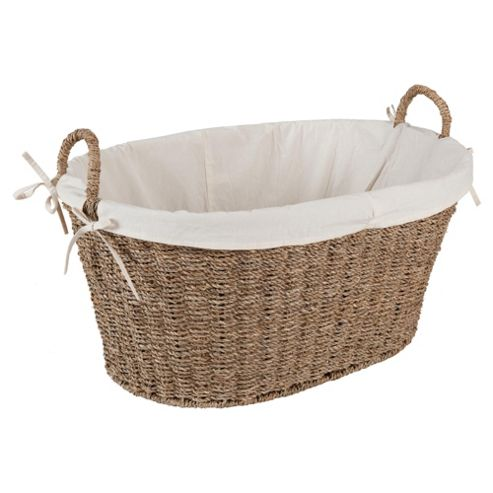 Tesco Seagrass Fabric Lined Laundry Basket