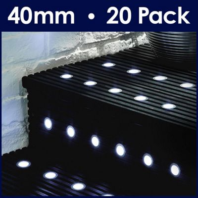 Minisun pack of 20 led 40mm decking lights in white