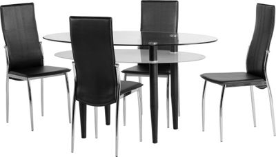 ValuFurniture Berkley Dining Set in Clear Glass/Black Faux Leather