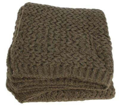 Brown Wool Ribbed Throw Blanket Sofa Bedroom Decor