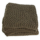 Brown Wool Ribbed Throw Blanket Sofa Bedroom Decor