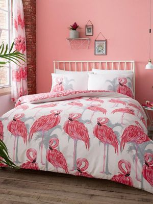 Flamingos and Palm Trees Pink Grey Single Duvet Cover and Pillowcase Set