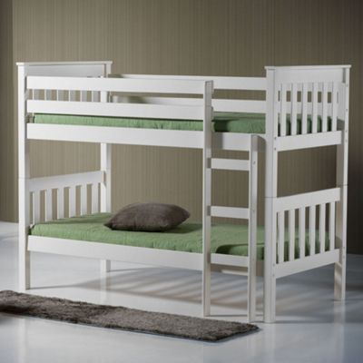 Happy Beds Seattle Wood Kids Bunk Bed with 2 Pocket Spring Mattresses - Ivory - 3ft Single