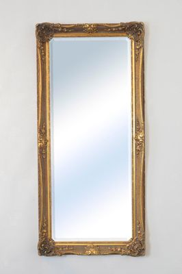 Large Gold Ornate Antique Shabby Chic Wall Mirror 5Ft8 X 2Ft8, 173cm X 81cm