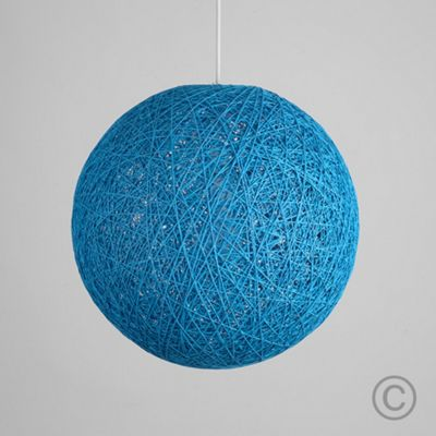 Bjorn 23cm Rattan Ball Ceiling Light Pendant Shade, Light Blue