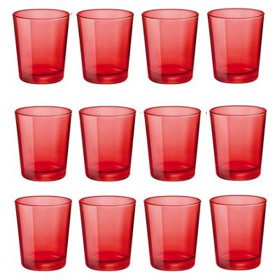 Bormioli Rocco Castore Coloured Glass Drinking Tumblers - Red - 300ml - Pack of 12