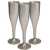 Silver Plastic Champagne Glasses - 162ml - 20 Pack