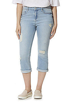 F&F Authentic Distressed Mid Rise Cropped Jeans - Light wash